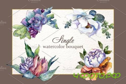 Bouquet Blooming meadow watercolor PNG - 3886926