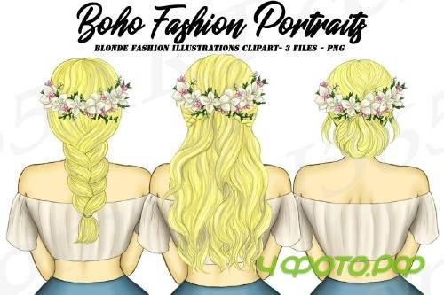 Boho Blonde Girls Fashion Clipart, Flower Wreath Spring - 267901