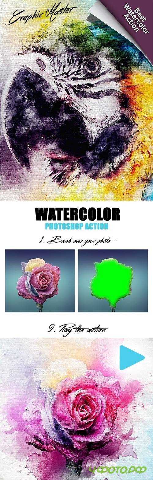 GMaster PRO Watercolor Photoshop Action 24387642
