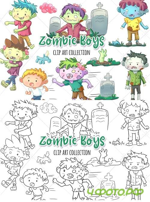 Zombie Boys Clip Art Collection and Digital Stamps 348644