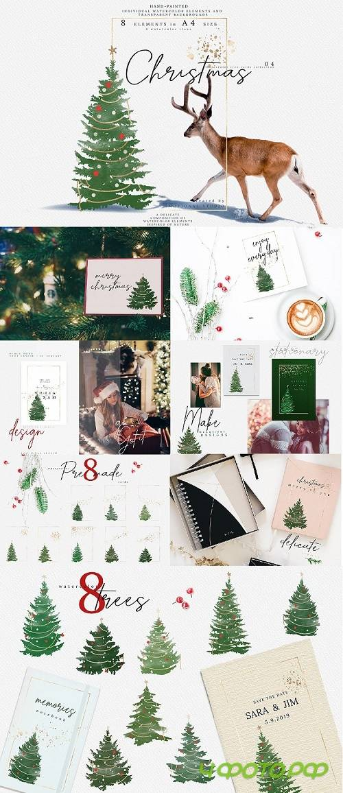Christmas Watercolor Tree cards collection 04 - 352752