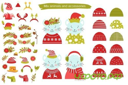 Cute animals. Christmas party! - 4228849