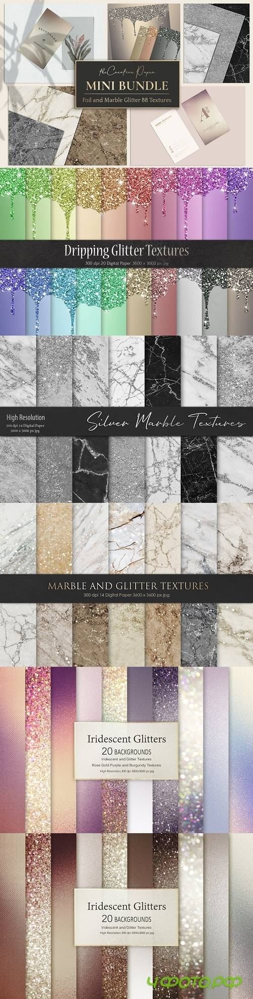 Rose Gold Foil & Marble Textures - 4328747