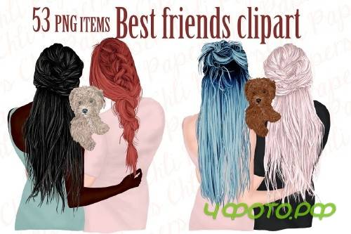 Best Friends Clipart,Girls and Dogs - 4312421