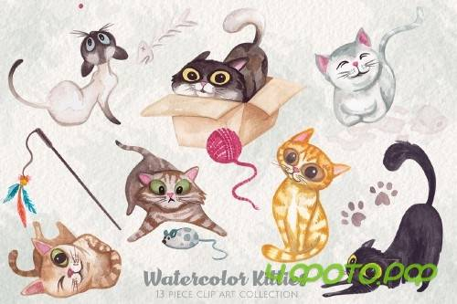 Watercolor Kitty Cats Clip Art - 220314