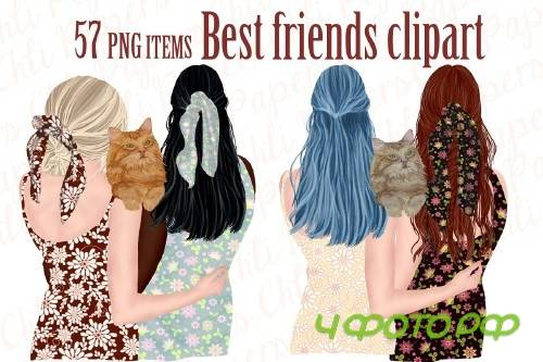 Best Friends Clipart,Girls and Cats - 4315846