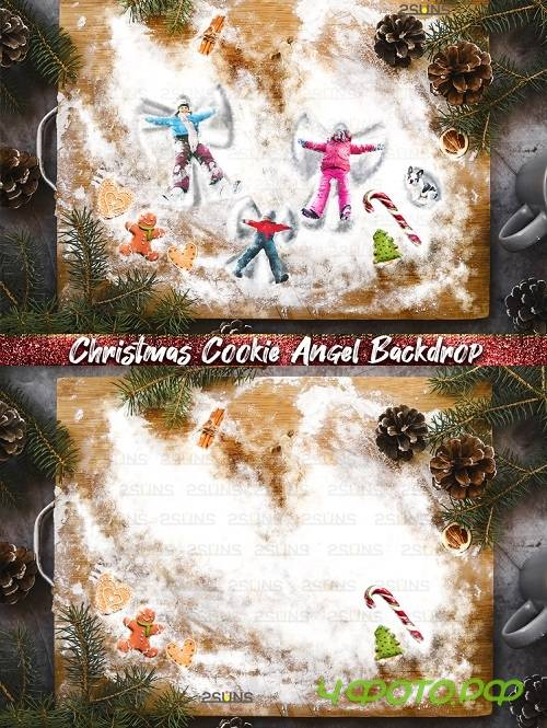 Christmas Digital Backdrop Snow Angel Baking flat Cookie - 403940