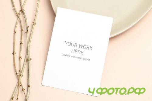 Mockup postcard with wooden branch on beige background - 417109