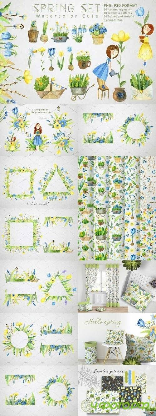 Watercolor Spring Set - 4454903