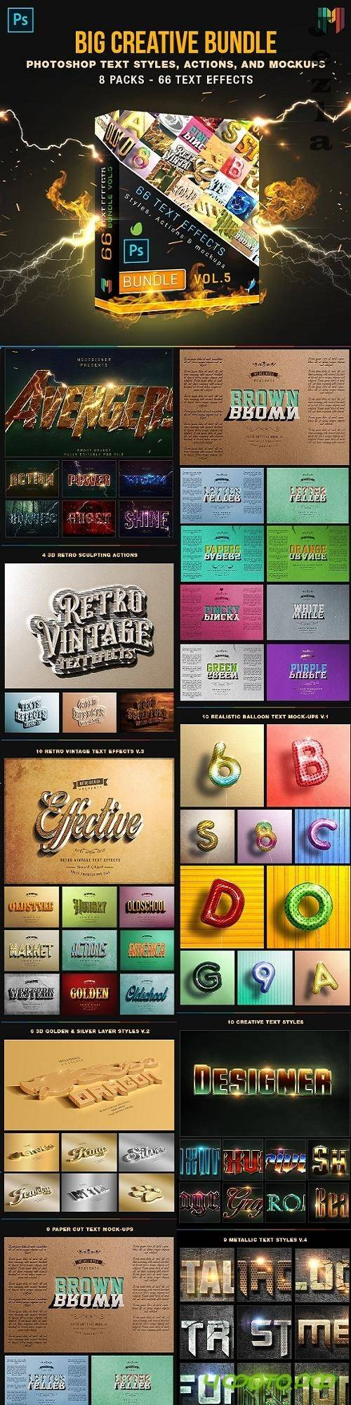 66 Creative Text Effects Bundle 5 - 26168423
