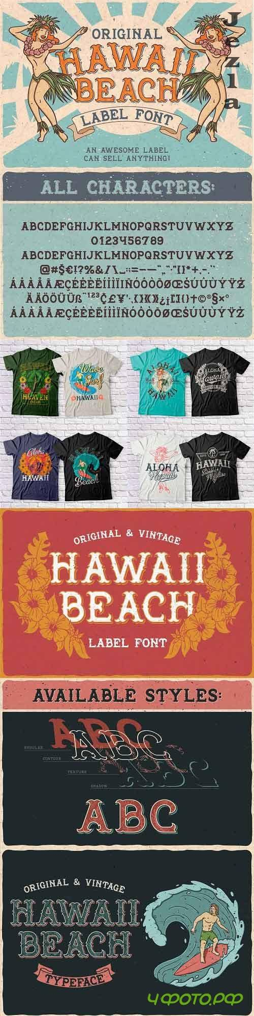 Hawaii Beach. Font & T-shirts - 24658585 - 4101621