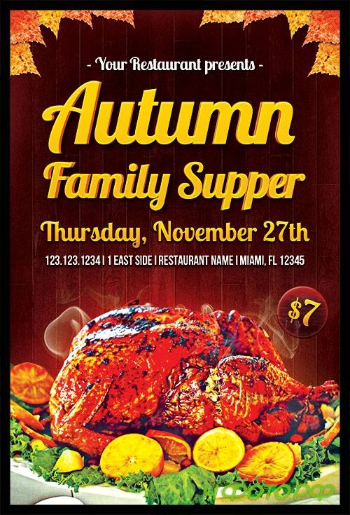 Autumn Family Supper Flyer Template