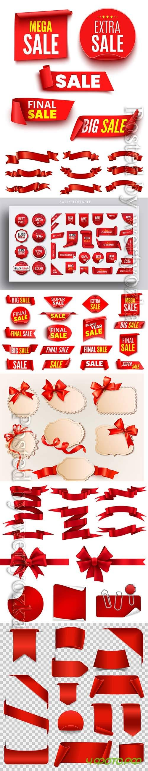 Red ribbon collection pack for event banners and price tag badges