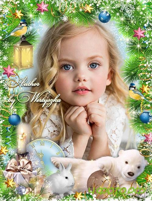 Christmas frame for a photo with a white bear and a bunny