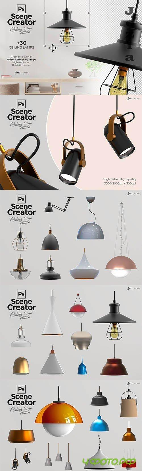 CreativeMarket - 30 PSD isolated ceiling lamps 5869112